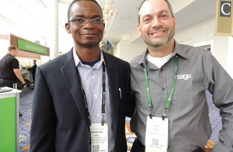 Tunde Ajala with Tim Haddon, Partner Advocate, Sage 50 - U.S.Edition