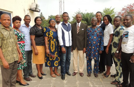 Cross section of Bursary staff of Michael Opara University of Agric. posed for photograph at the opening of Sage Fixed Assets Software training. To the left of our Managing Partner are the Bursar and Deputy Bursar