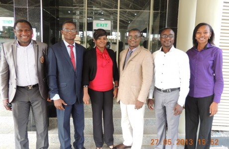 Mr. Tunde Ajala, second left, on audit of Nigeria Agip Energy, Abuja April 2013, posed with other team members