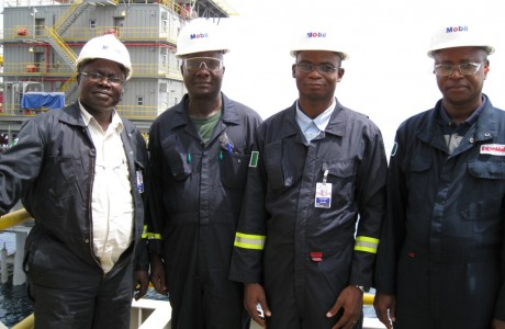 Mr. Tunde Ajala, second right, on material audit of YOHO in 2008 posed with Mobil staff on board YOHO FSO